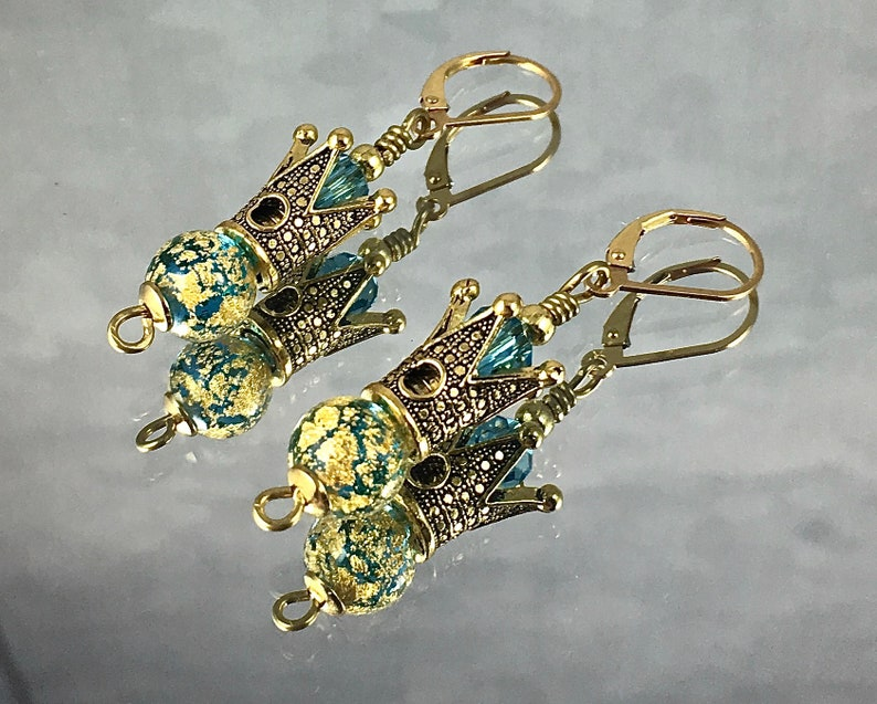 QUEEN FOR a DAY Earrings Golden Crowns Top Aqua Murano Beads image 0