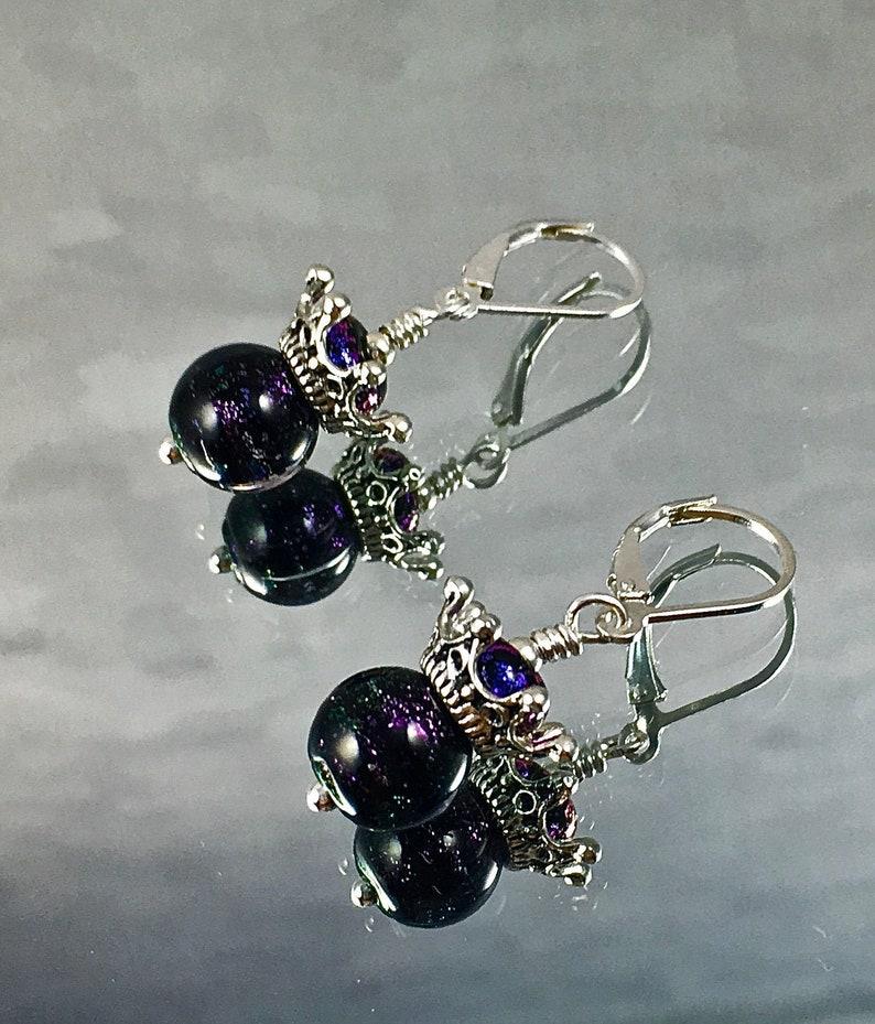 ROYAL PURPLE CROWN Earrings Vintage Dichroic Beads Modern image 0