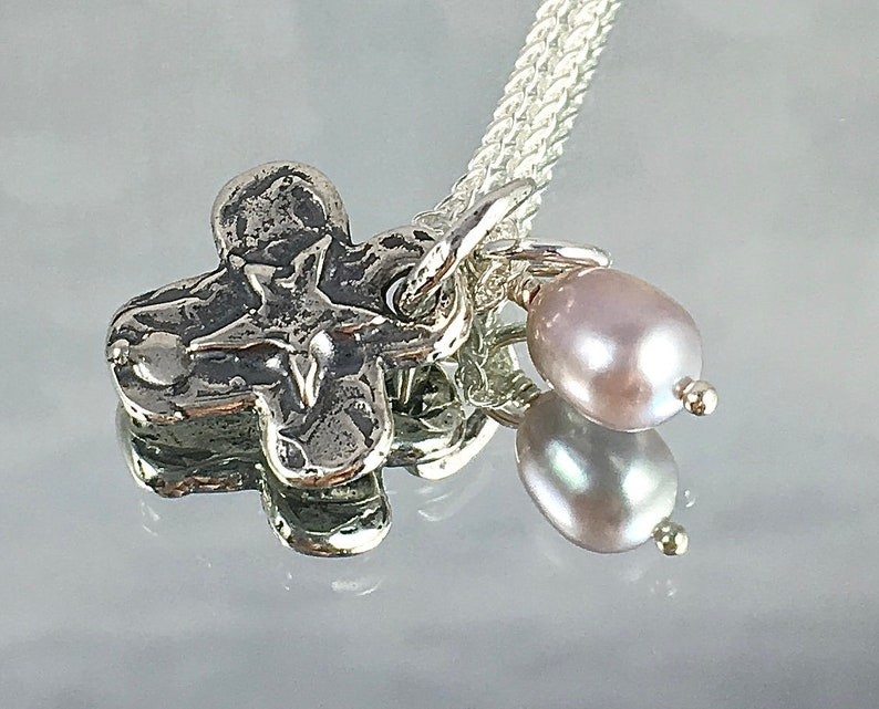 BELIEVE PENDANT with Lavender Edison Pearl Sterling Cross with image 0