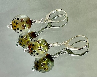 AMBER WAVES of GRAIN Earrings Exquisite Lampwork Shining Dichroic Amber Shards Swirl through Pale Amber Glass Extraordinary