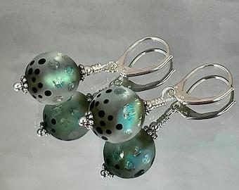 VERNAL POOL EARRINGS Extraordinary Artisanal Lampwork Intense Number of Aqua Dichroic Shards Swirl through the Clear Glass Stunning
