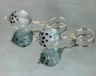 FOUNTAIN OF JOY Earrings German Artisan Lampwork Shards of Aqua Dichroic Glass Visible in Windows in Etched Surface Rock Zoom