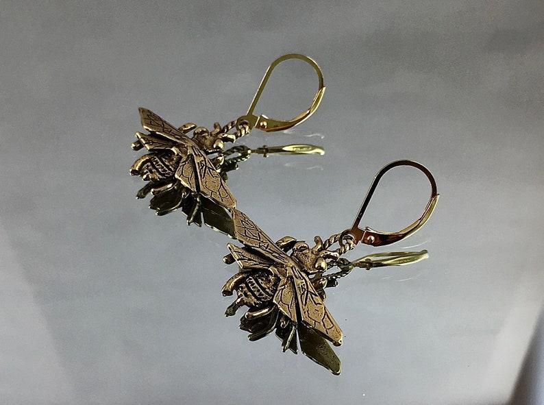 QUEEN BEE Earrings Gold Bronze Bees Heirloom Gold-Filled image 0