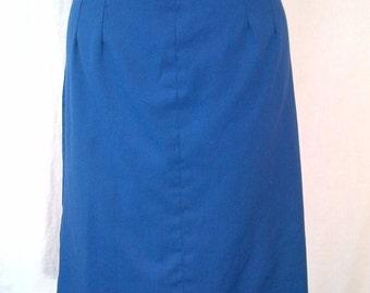Jacket Skirt Suit Set Vintage 1960s Navy Blue White Rayon Dacron Caliday of California