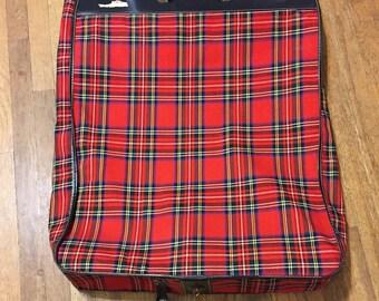 Vintage Red Plaid Garmet Bag Suitcase Travel Bag Wardrobe Bag