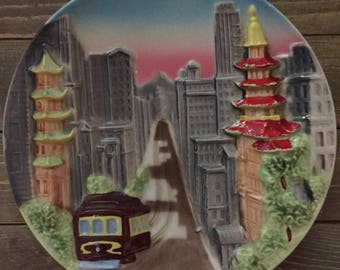 Vintage Mid Century Ceramic Plaque San Francisco Chinatown  Cable Car Wall Hanging