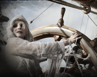 NAVIGATOR  Poster art. High resolution of an upcoming video still for Vamplified music. Ghost ship. Captain. Haunted Lighthouse. Nautical