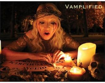 VAMPLIFIED® SPIRIT BOARD postcard- soothsayer- clairvoyant- ouija- psychic- medium- fortune teller - ghost - necromancer - divination seance