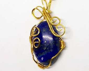 Lapis Lazuli Wire Wrap Necklace