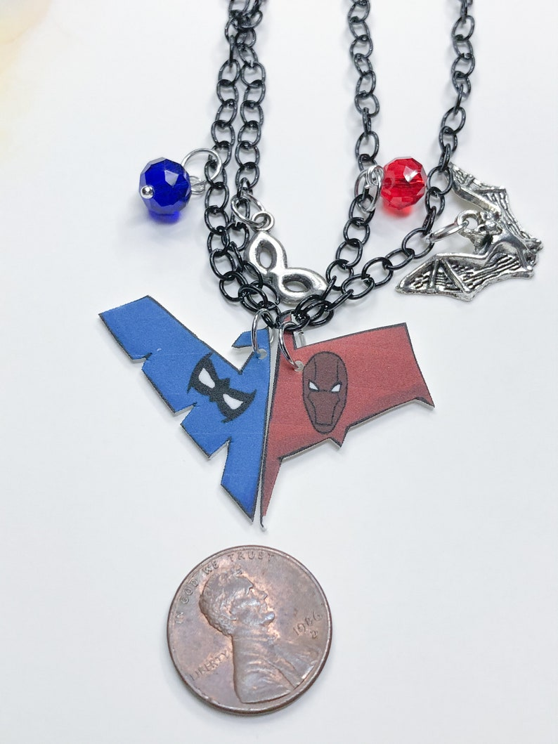 Redhood and Nightwing Bff Necklace