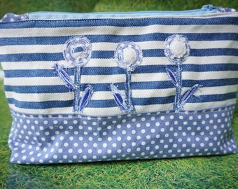 Blue and white zipper pouch makeup bag stripes dotty flower bag