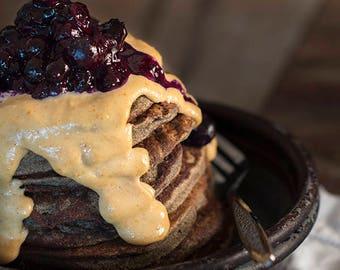 Banana Bread PB & J Pancakes