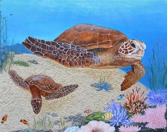 Coral Reef Sea Turtles 16x20 Inch Wrapped Canvas Acrylic Painting