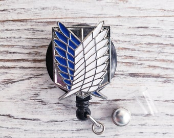 Retractable badge reel, Blue shield, Attack On Titan, Wings of Liberty,  Freedom Scout, Regiment Legion, Survey Corp Badge, Anime