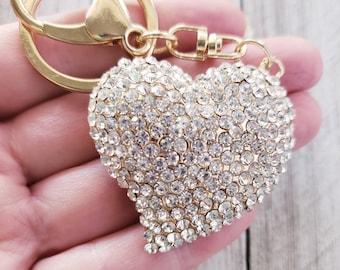 Heart Rhinestone Keychain, Charm Keychain, Key Ring, Keychains, Bling Purse Accessory