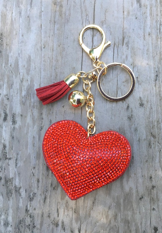 Angel Wings Metal Keyring With Heart Charm Set with Rhinestones