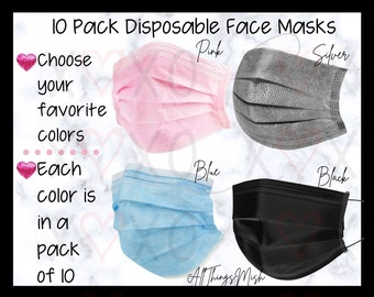 Disposable FACE MASK Bundle, Pack of 10,Fall Mask, Mask with nose wire rim, Mask for adults, Adult Face Mask, 3-Ply Disposable Face mask