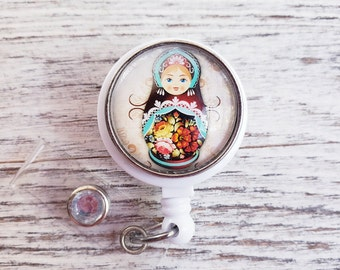 Matryoshka Doll badge reel, RN badge, Russian doll, RN graduation gift, Cute badge reel, ID Holder, Medical jewelry