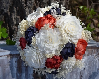 Navy Coral Bouquet Wedding Bouquet Peony Sola Bouquet Bridesmaid Bouquet Navy Bouquet Coral Bouquet Wedding Bouquet Navy Coral Bouquet Navy