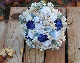 Navy Champagne Bouquet Wedding Bouquet Peony Sola Bouquet Spring Bouquet Navy Bouquet Bridesmaid Bouquet Navy Champagne Bouquet Navy Bouquet