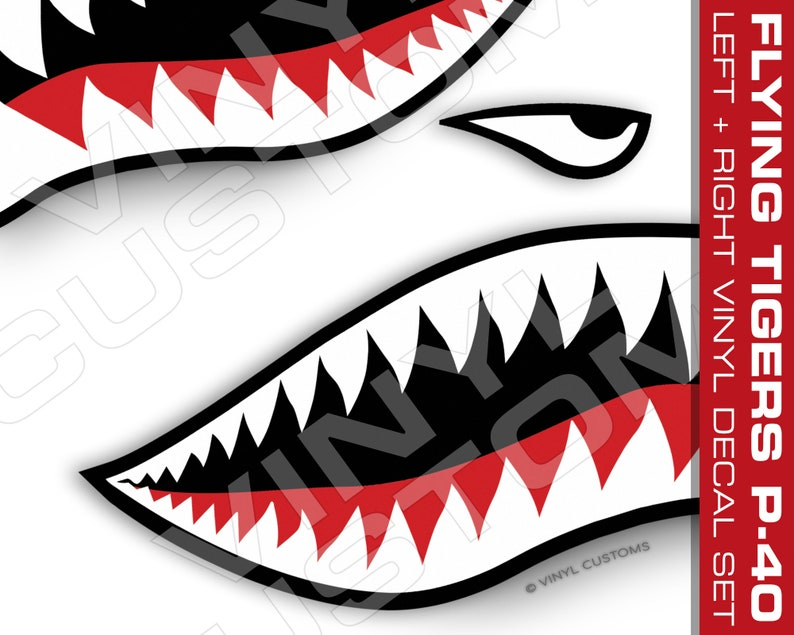 Flying Tigers Vinyl Decal Sticker Shark Teeth Hobby Ww2
