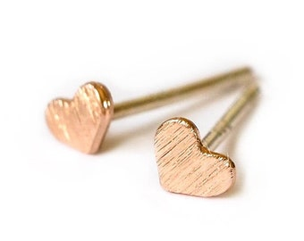 Heart Earrings Stud, Gold Heart Earrings, Gold Heart Earring, Rose Gold Heart, Tiny Hearts, Tiny Heart, Heart Jewelry