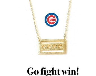 Chicago City Necklace, Chicago Necklace, City Chicago, Chicago City, Chicago Cubs Necklace, Cubs Necklace, Chicago Cubs, Gold Chicago Cubs
