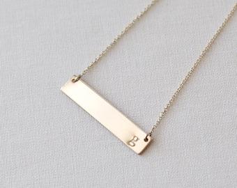 Gold Bar Necklace, Bar Necklace, Initial Bar Necklace, Initial Necklace, Bar Necklace Gold, Initial Necklace Gold, Gold Initial Bar Necklace