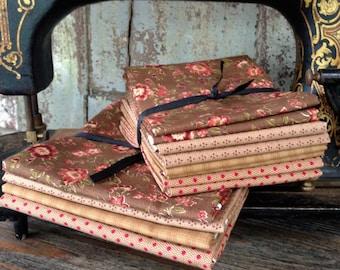 Fabric: Bundle FQ/Half Yard Sampler - Brown/Red Selection - Lecien Fabric