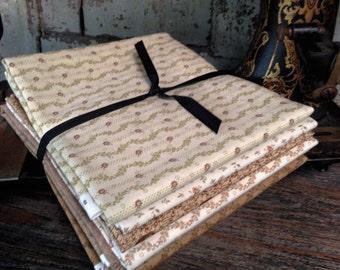 Fabric: HALF YARD Sampler Bundle Tan/Brown Selection - Lecien, Windham and Buggy Barn Fabrics