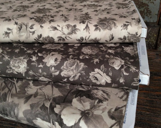 Fabric: HALF YARD - Shades of Grey - Floral - 41290/41291 - by Nancy Gere for Windham Fabrics