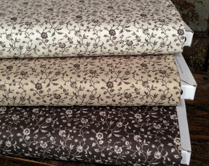 Fabric: HALF YARD - Shades of Grey - Small Floral - 41292 - by Nancy Gere for Windham Fabrics
