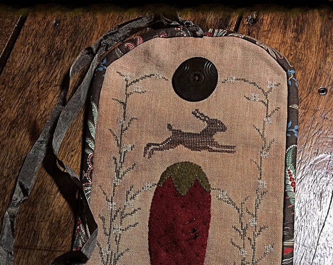 """Pattern: Cross Stitch """"Strawberry Hare Sewing Roll"""" - Dulaney Woods Treasures"""