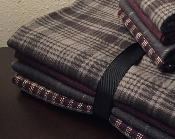 Fabric: Bundle 1 YD Flannel 4pc -Gray/Plum Primo Plaid Flannel Collection