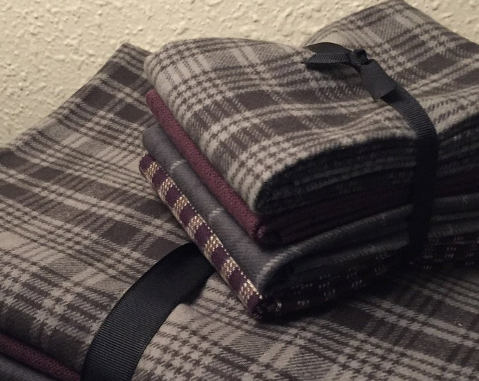 Fabric: Bundle FQ Flannel 4pc -Gray/Plum Primo Plaid Flannel Collection