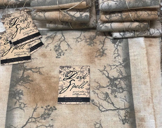 """Linen: """"Dark Spell"""" - 30 count Hand Dyed and printed linen from the Primitive Hare"""