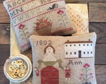 """Pattern: """"Ann's Sampler Pinkeeps"""" - Cross Stitch  by Stacy Nash Primitives"""