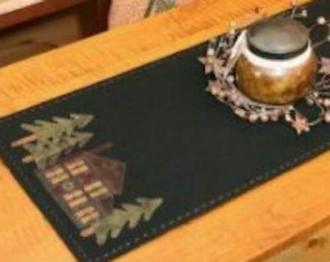 Wool Kit & Pattern Book: Cabin in the Woods appliqué table runner - Primitive Gatherings