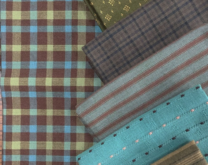 Fabric: FQ 6 pc Bundle - Fat Quarter Cotton Homespuns & Wovens