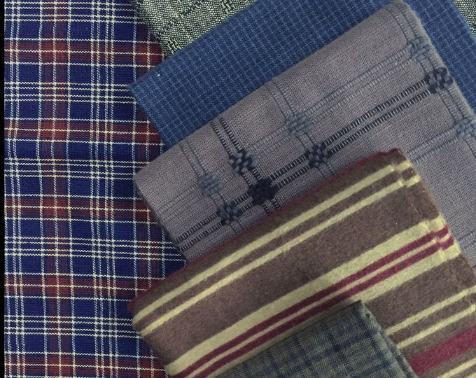 Fabric: FQ 6 pc Bundle - Fat Quarter Cotton Homespuns Flannels & Wovens