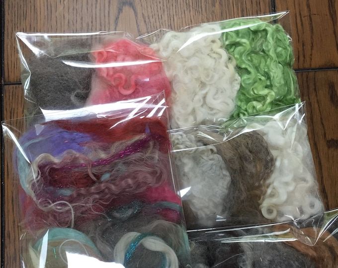 Washed Wools: Sampler Collections including Curly Wool, Raw Wool or Rovings