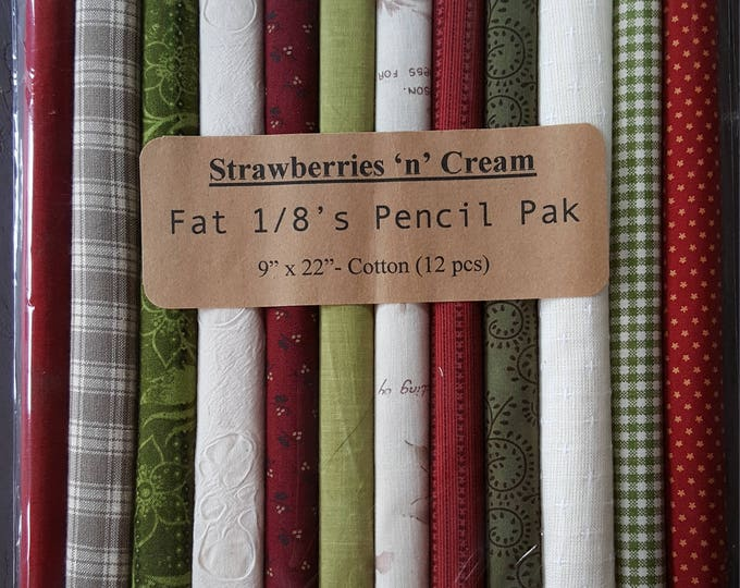Fabric: Fat Eighth Pencil Pak - Strawberries 'n' Cream / 12- 9x22 inch pieces