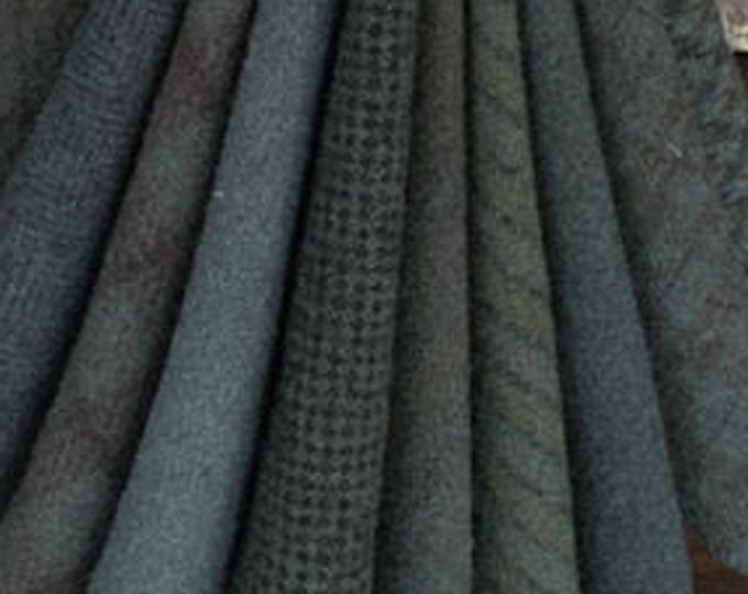 "Wool Bundle: MF Woolens Bundle of 10 pieces - 6 1/2"" x 8"" - Juniper Berry"