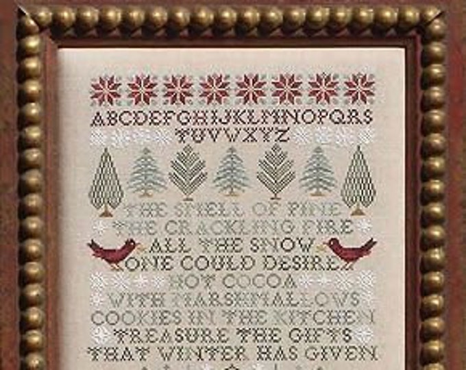 Pattern: Pointsettias and Pines - Cross Stitch by Blue Ribbon Designs