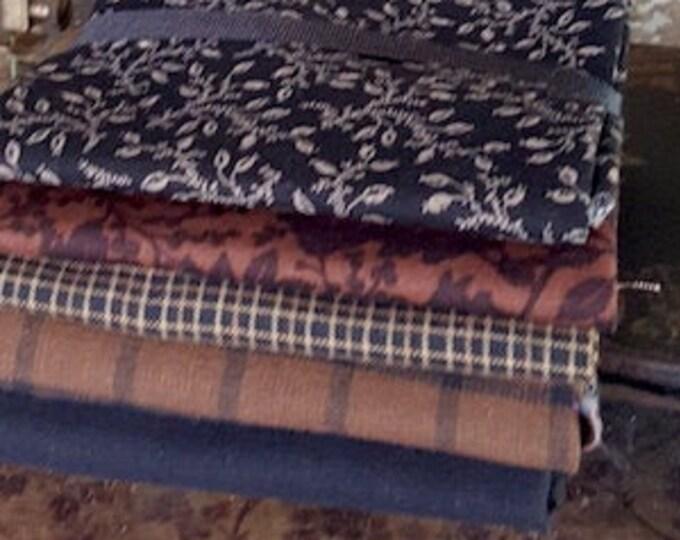 "Fabric: Bundle FQ 5pc - ""Browns/Blacks""s"""