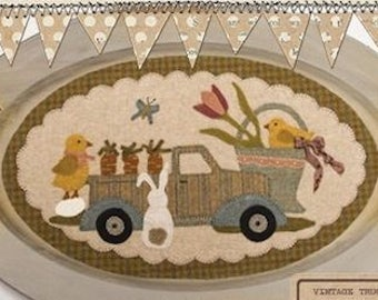 """Pattern: April Vintage Truck Thru the Year - """"Bunny, Chicks, Carrots & More"""" by Buttermilk Basin"""