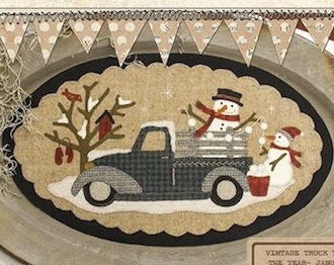 "Pattern: January Vintage Truck Thru the Year - ""Snowmen"" by Buttermilk Basin"