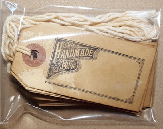 """Handmade Tea Dyed- Hand Stamped """"Handmade By... """" Product and Gift Tags - 10 pc"""