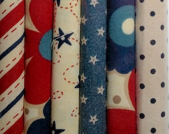 Fabric: Fat Eighth Mini Pencil Pak- AMERICANA FLORAL 6- 9x22 inch pieces