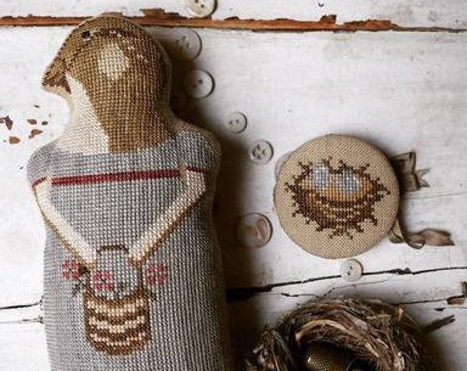 """Pattern: """" Jenny""""  - Animal Cracker Series Cross Stitch  by Stacy Nash Primitives"""